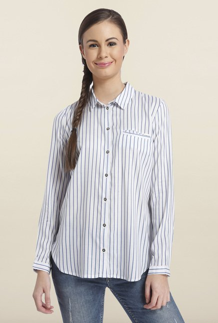 Only White Striped Casual Shirt