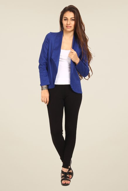Avirate Blue Solid Blazer
