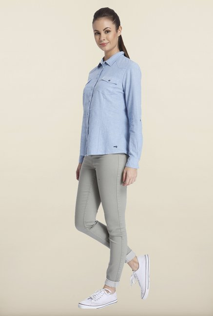 Only Blue Solid Casual Shirt