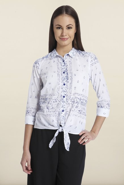 Only White Printed Cotton Shirt
