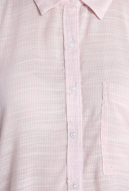Only Light Pink Solid Casual Shirt