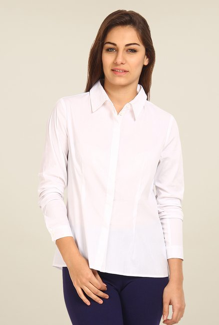 Avirate White Solid Shirt
