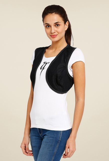 Avirate Black Printed Shrug