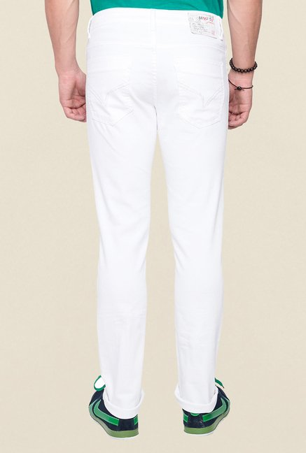 Mufti White Raw Denim Slim Fit Jeans