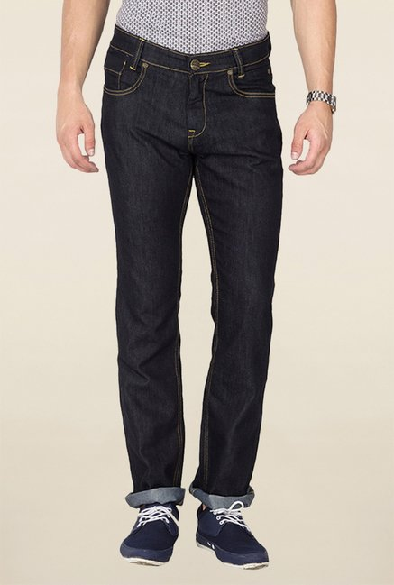 Mufti Black Solid Raw Denim Jeans