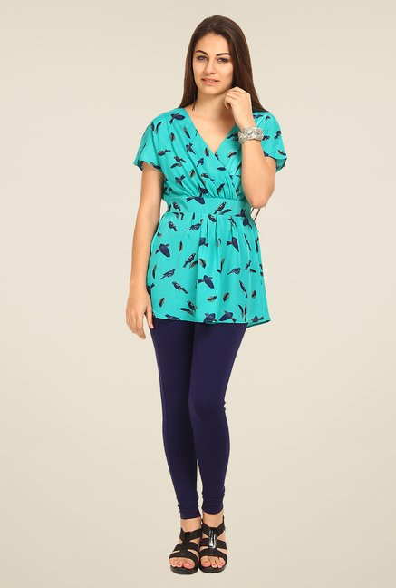 Avirate Turquoise Printed Top