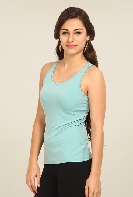 Avirate Blue Solid Tank Top