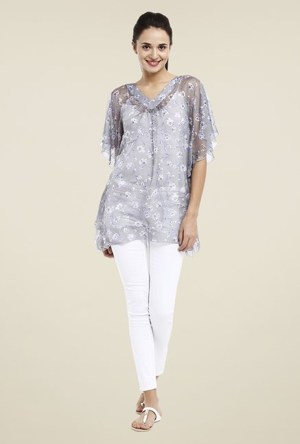 Avirate Grey Floral Printed Top
