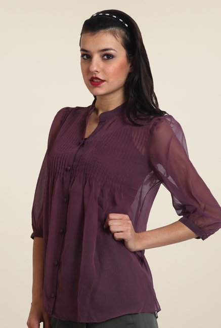 Avirate Purple Solid Top