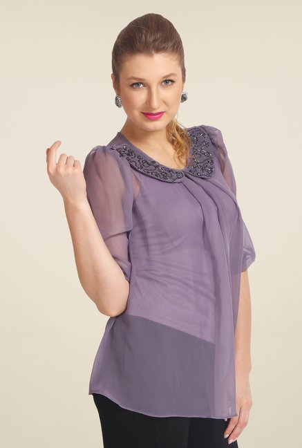 Avirate Purple Embellished Top