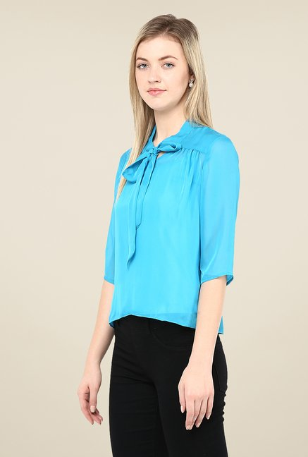 Avirate Sky Blue Solid Top