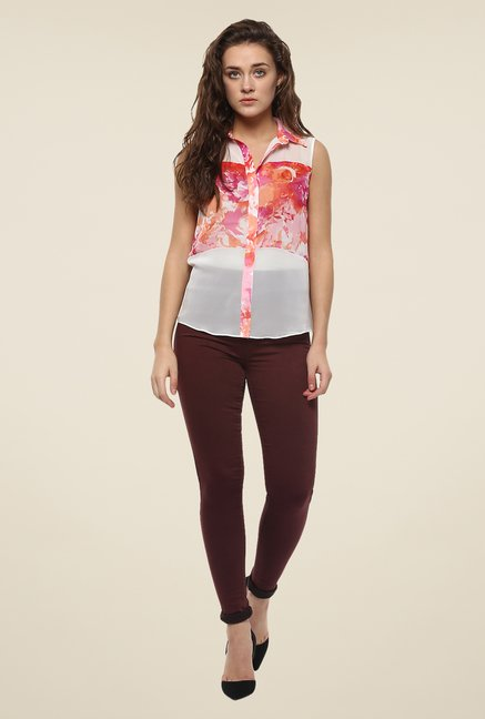 Avirate White & Pink Printed Top