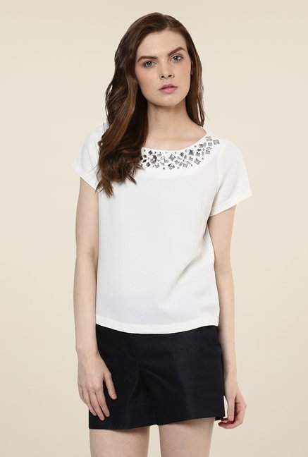 Avirate White Embellished Top