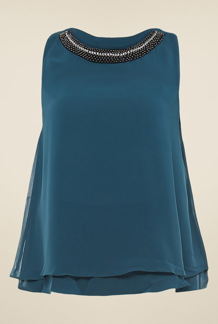 Avirate Dark Green Embellished Top