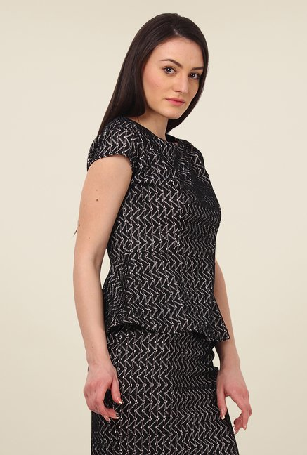 Avirate Black Embroidered Top
