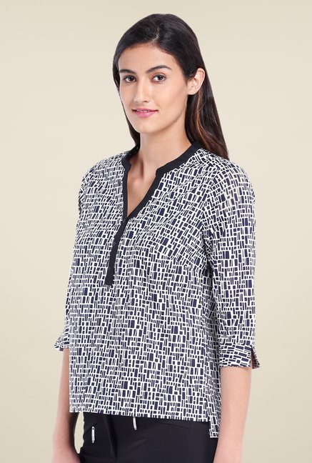 Avirate Navy & White Printed Top