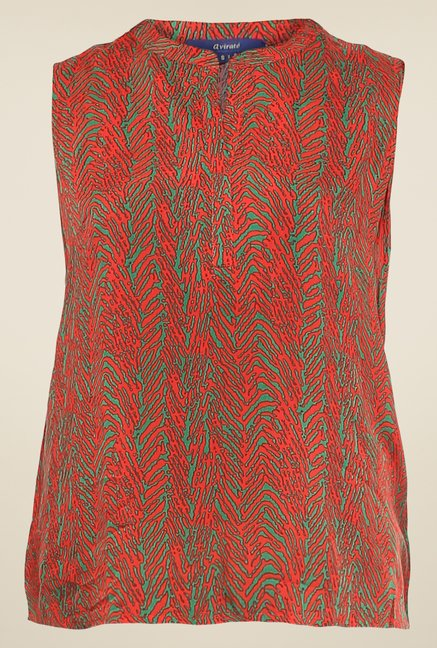 Avirate Red & Green Printed Top