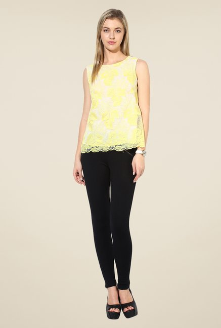 Avirate Yellow Embroidered Top