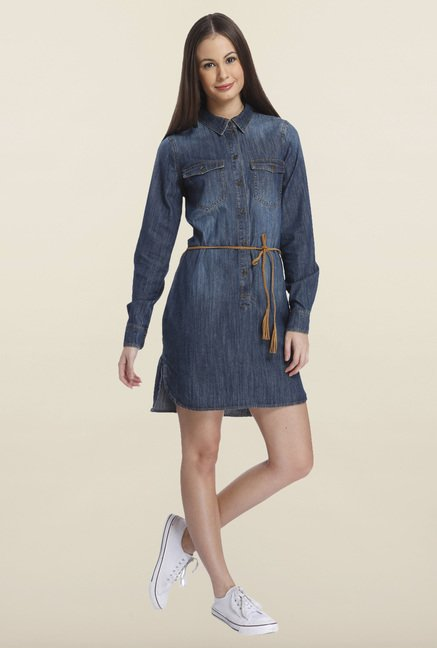 Only Blue Solid Denim Casual Dress