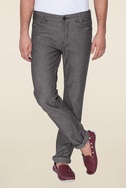 Mufti Grey Raw Denim Slim Fit Jeans