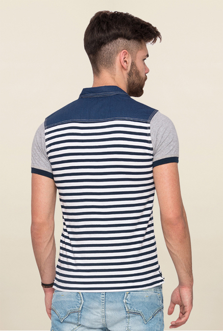 Mufti Navy Striped Polo T Shirt