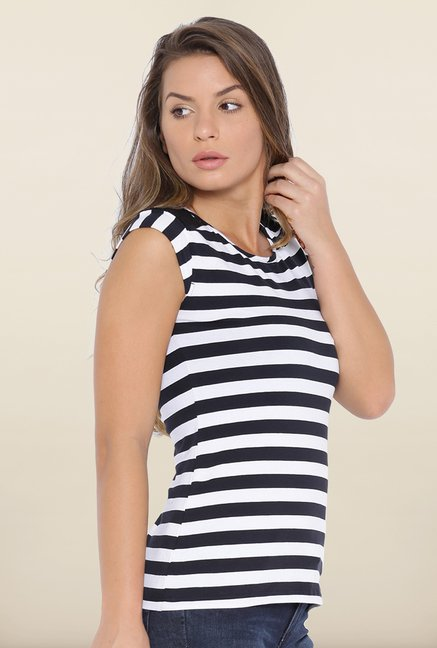 Kraus Black & White Striped Lace Top