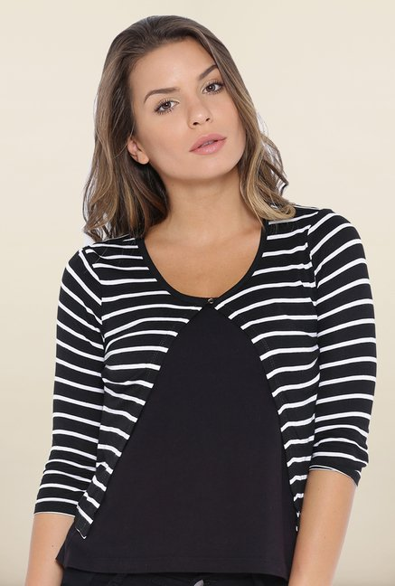 Kraus Black & White Stripe Layered Top