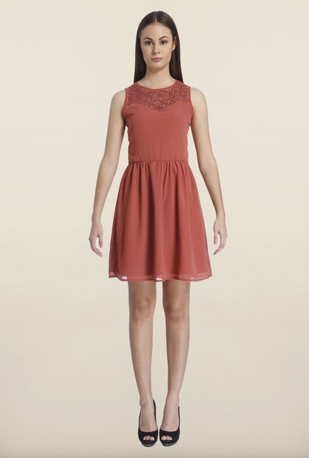 Only Marsala Solid Mini Dress