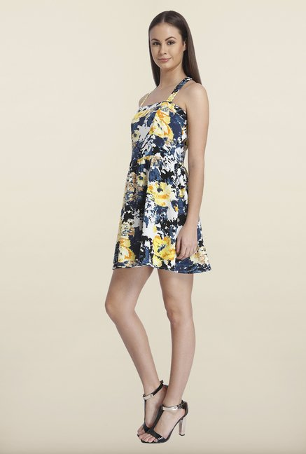 Only Navy & Yellow Floral Printed Mini Dress