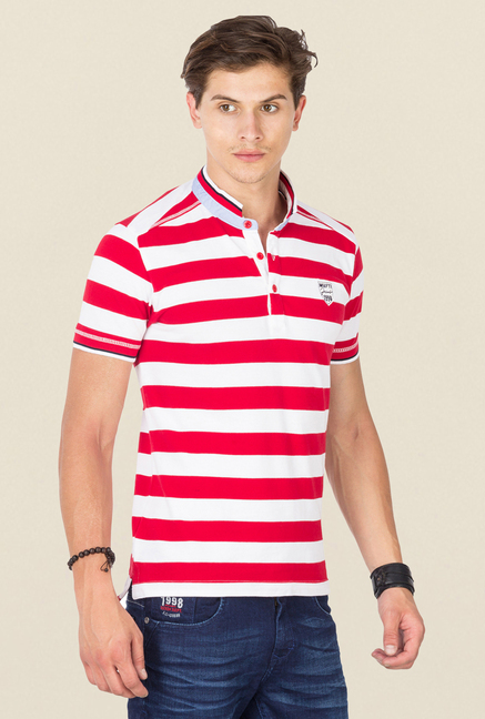 Mufti Red & White Striped T Shirt