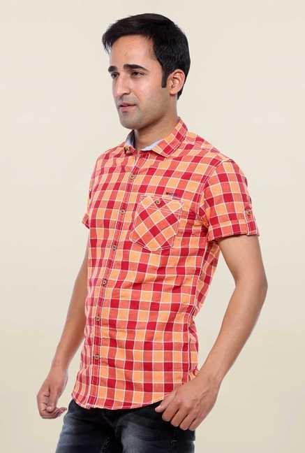 Mufti Orange & Red Checks Shirt
