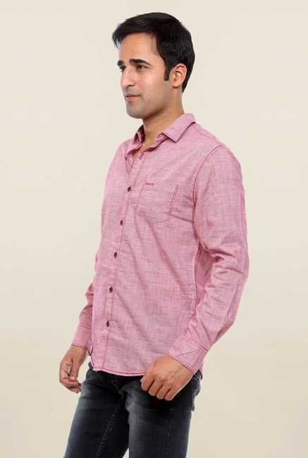 Mufti Pink Self Printed Shirt