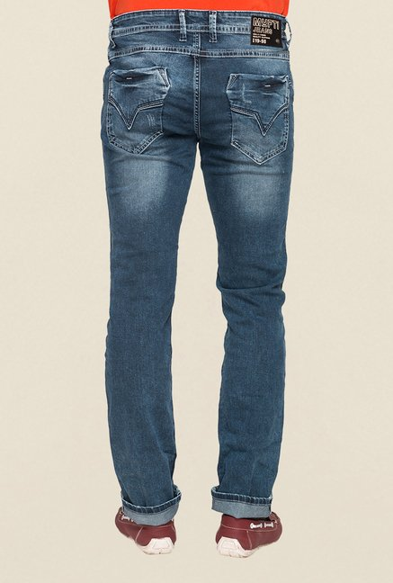 Mufti Blue Acid Washed Slim Fit Jeans