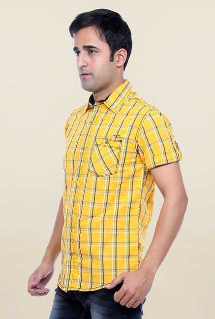Mufti Yellow Checks Shirt