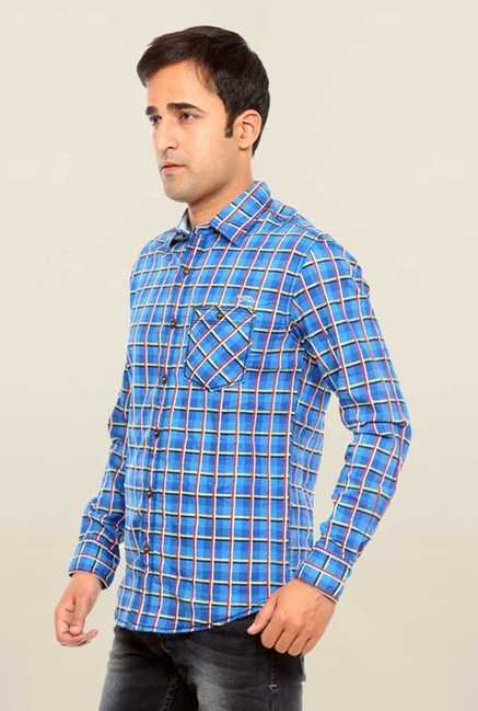 Mufti Blue Checks Cotton Shirt