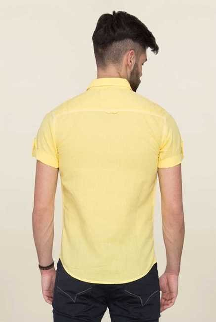 Mufti Yellow Solid Half Sleeves Shirt
