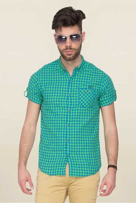 Mufti Green Checks Slim Fit Shirt