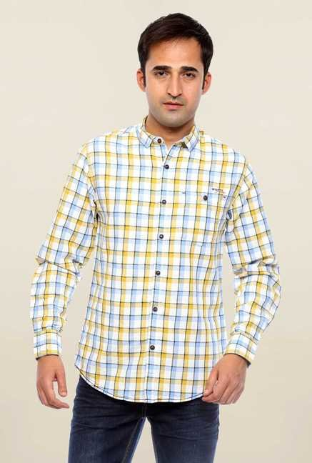 Mufti White Checks Cotton Shirt