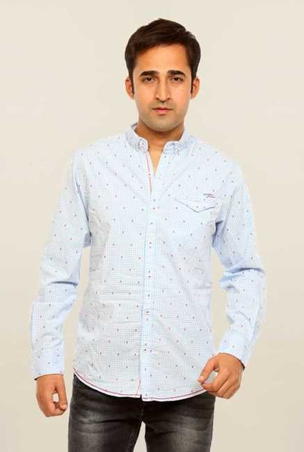 Mufti Sky Blue Printed Slim Fit Shirt