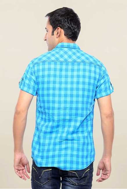 Mufti Turquoise Checks Slim Fit Shirt