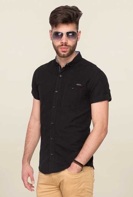 Mufti Black Solid Slim Fit Shirt