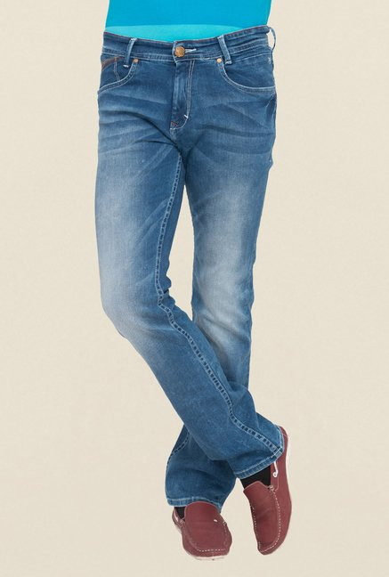 Mufti Blue Straight Fit Washed Jeans