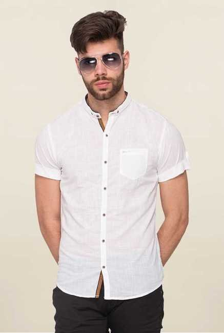 Mufti White Solid Shirt