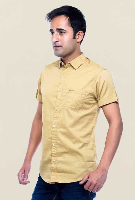 Mufti Khaki Solid Slim Fit Shirt