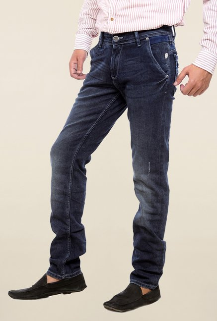 Mufti Navy Solid Rinse Washed Jeans