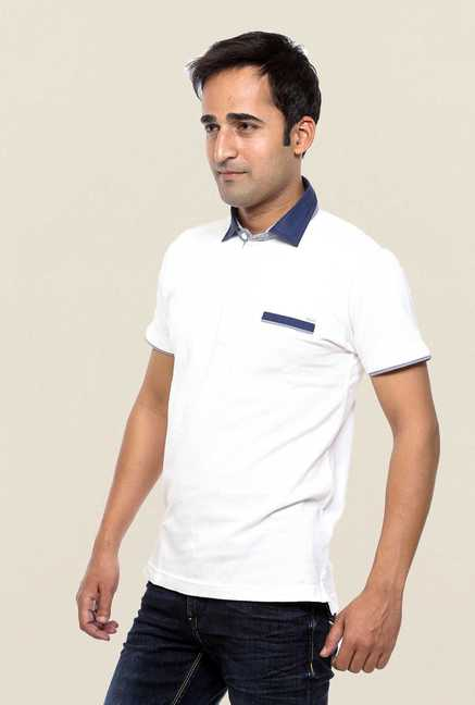 Mufti White Solid Polo T Shirt