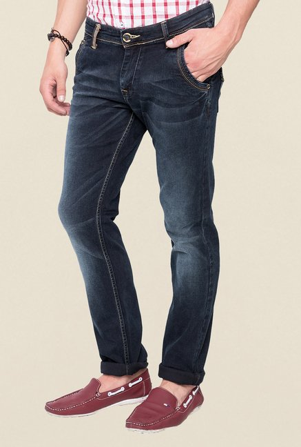 Mufti Black Solid Straight Fit Jeans