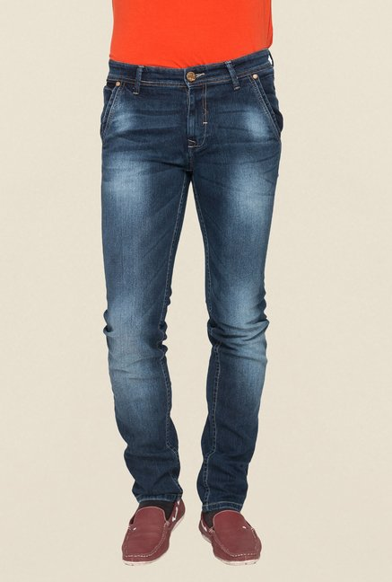 Mufti Navy Lightly Washed Slim Fit Jeans