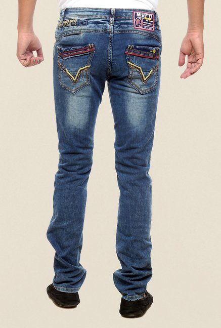 Mufti Blue Slim Fit Washed Jeans