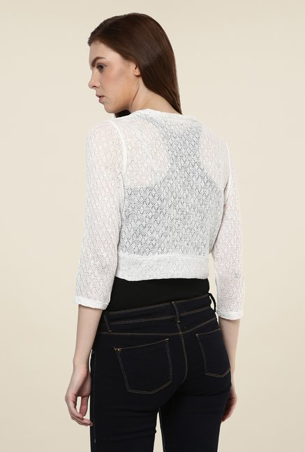 Avirate White Woven Shrug